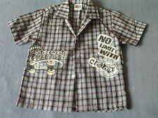 Boys 4-5 Years - Brown/Blue Check Short Sleeve Shirt - Skateboard Motif