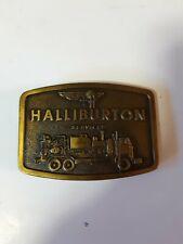 1976 Jimm Watson Halliburton Services Brass Belt Buckle Pre-owned