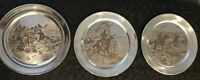 Set of 3 Reed & Barton Damascene Silver Plates by Charles M Russell Vintage FLAW