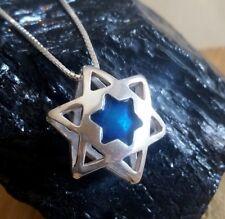Star of David necklace, blue enamel jewish star, Israeli jewelry, 3D jewelry