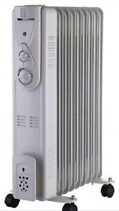 New 2KW 9 Fin Electric Oil Filled Radiator / Heater with Adjustable Thermostat