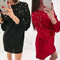 Women Autumn Winter Long Sleeve Evening Cocktail Party Sweater Shirts Mini Dress