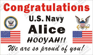 """28""""X46"""" Personalized Congratulations US Navy Boot Camp Graduation Banner Sign"""