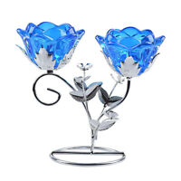 Crystal Blue Candlesticks Candle Holder Wedding Event Banquet Tabletop Decor