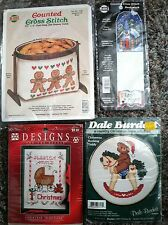 Lot of 4 Vintage Christmas Cross Stitch Kit Projects 1 new 3 opened but unused