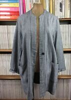 PAUL COSTELLOE linen cardigan jacket top lagenlook unstructured L UK 14 US 10