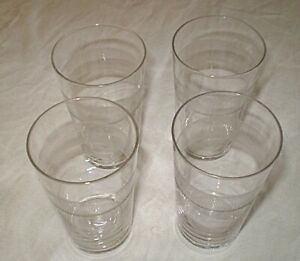 TUMBLER GLASSES x 4. SMALL ENGRAVED.