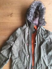 Topshop MOTO Green Parka Jacket With Fur Hood - Size 8