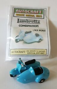 1/43 scale O gauge 1960s Lambretta Combination scooter & sidecar metal model kit