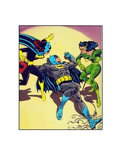 Batman , Catwoman Batgirl 1967  DC Comics vintage style  sericel