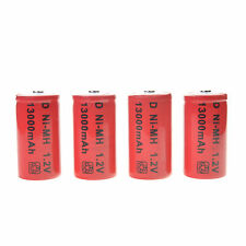4 pcs D size 13000mAh 1.2V Volt Ni-MH Rechargeable Battery Cell white US Stock