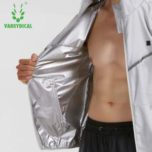Men's Fitness Sweat Suits Hood Weight Reduce Running Sports Jacket Sauna Suits