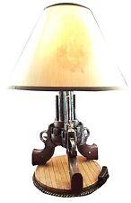 "Triple Beretta Gun Six Shooters 19"" Desktop Table Lamp Cowboy Western Home Decor"