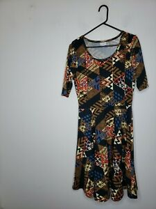 LuLaRoe Women's Dress 2XL Plus Size Nicole Style Flared Blue Brown Red Geometric