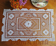 Handmade Tuscany Filet Lace Cotton Doily Placemat Topper Rectangle 28x43CM White