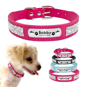 Suede Rhinestone Personalized Dog Collar with Paw Print Engraved Various XS-L
