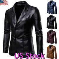 US Mens Faux Leather Jacket Slim Fit Business Blazer Work Suit Coat Warm Outwear