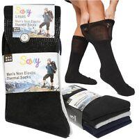 Mens Ladies Non Elastic Thermal Diabetic Thick Black Pastell Warm Socks 5,10 PK