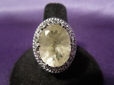 Large Sterling Silver Rutilated Quartz Solitaire Oval Filigree Ring, Size 10 NIB