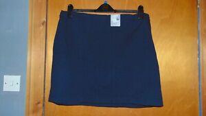 "M&S Jersey Straight Skirt Stretch Mini Plain Office School UK22 L21"" Navy BNWT"