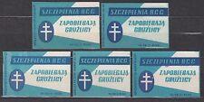 POLAND 1960 Matchbox Label - Cat.Z#210 set BCG vaccination, prevent tuberculosis