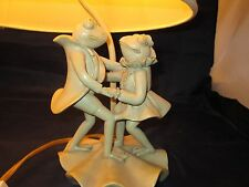 Vintage DANCING COUPLE FROG FROGS TABLE LAMP SAGE GREEN W FREE SHADE