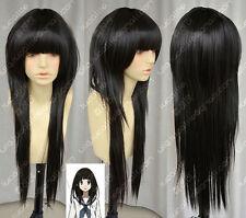 HELLOJF360  charming Popular long black Straight hair Cosplay Wig wigs for women