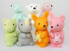 IWAKO Wild Animals Take-Apart 7 Rubber Erasers Set - Kangaroo, Polar Bear, Rhino