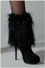 black Fashion faux fur funky leg warmers boots cover club dance shoes cover