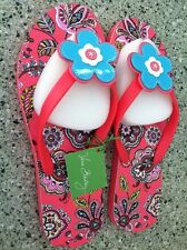 Vera Bradley Call Me Coral Flower Flip Flops Sandals Size Large
