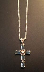 Ross Simons Sterling Silver Vermeil Diamond Green Stone Cross Pendant Necklace