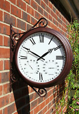 Garden Station Bracket Wall Clock Thermometer Humidity Outdoor Double Sided 37cm
