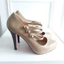 Nude Beige High Heel Vtg Victorian Style Button Strap Wedding Sandals Sz 5 / 38