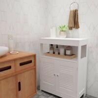 Bathroom Floor Storage Cabinet Organizer Free Standing Cabinet Double Door White