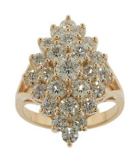 3.00 ct. Tw Round Cut Diamond Anniversary Cluster Yellow Gold Ring F Vs2 Clarity