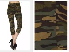 Printed Capri Leggings Camouflage Peach Skin Soft Feel One Size fits 2 -1 6