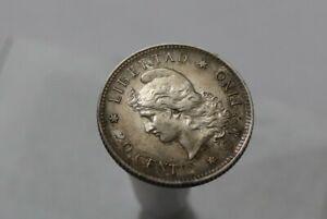 ARGENTINA 20 CENTAVOS 1883 SILVER OVERDATE SCARCE HIGH GRADE B34 #K5796