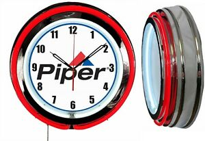 """Piper Aircraft Airplane 19"""" Double Neon Clock RED Neon Chrome Finish Man Cave"""