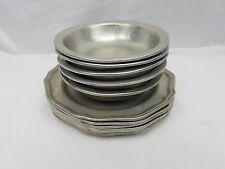 Wilton Armetale Signed Pewter Set of 10 Colonial Queen Anne Vtg Bowls & Plates
