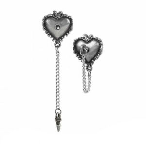WITCHES HEART STUD EARRINGS ALCHEMY Gothic Pagan Magick + FREE VELVET POUCH