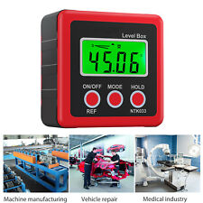 Digital Box Gauge Angle Protractor Level Inclinometer Magnetic Base 0-360° Red