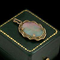 Antique Vintage Deco 12k Yellow Gold Filled GF Opal Doublet Charm Pendant 3.1g