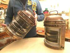 2 Antique Spanish Port Barcelona Ciervo Glass Lantern Lamps Candle Holders