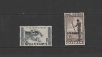 PAPUA NEW GUINEA 1952-58  SPECIMEN SET of 2  (SG  14s-15s) MNH