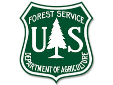 2.5x2.5 inch HUNTER GREEN and WHITE US Forest Service Shield Sticker -hike logo