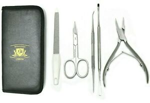 Toe Nail Clippers Cutter Set - Podiatry Pedicure 5pc- Heavy Duty For Thick Nails