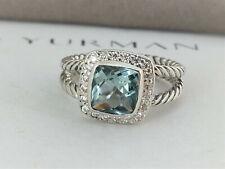 David yurman Albion Petite Ring with 7mm Green Prasiolite and diamonds, size 5.5