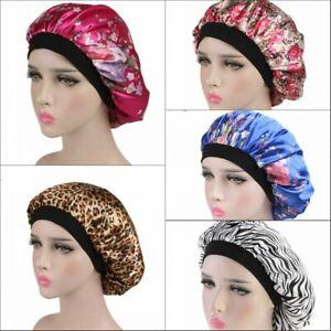 Women Floral Silk Night Sleep Hat Hair Bonnet Cap Head Cover Satin Turban Wrap