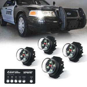 Xprite 4pc White Hideaway LED Strobe Lights Emergency Vehicle Head Lights Bulb