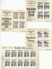 Stamps Australia set 4 Headline News mini sheets with 2014 Canberra Stamp Show
